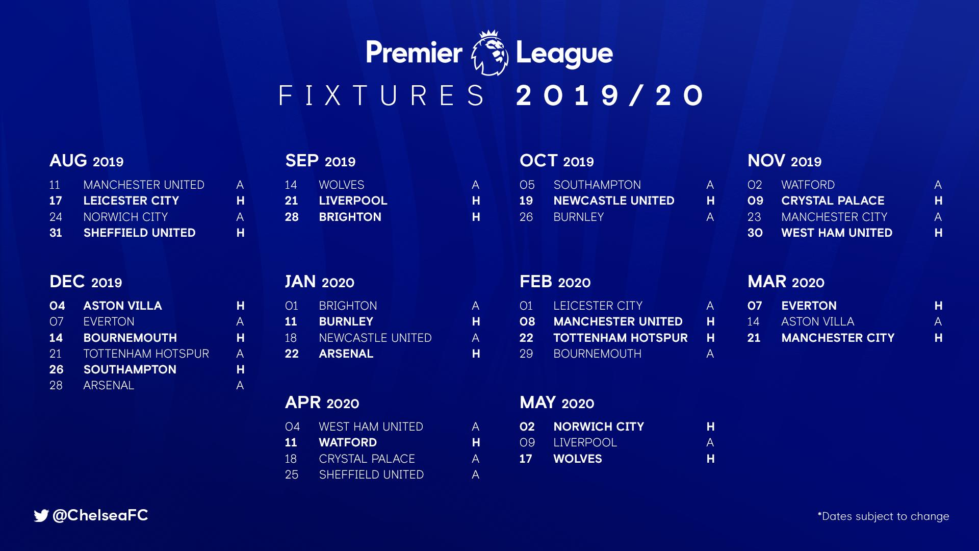 Premier League Calendario.Calendario Jogos Premier League 19 20 Chelsea Chelsea Fans